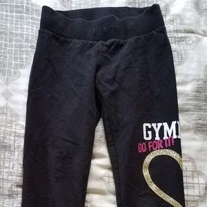 Girls Justice Black Gymnast Fitted Sweatpants - 8
